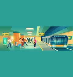 woman at metro station metropolitan platform vector image