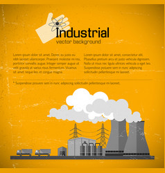 Yellow background with factory vector