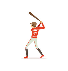 young baseball player preparing to strike with bat vector image