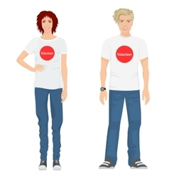 Young guy and girl volunteers in t-shirts jeans vector image