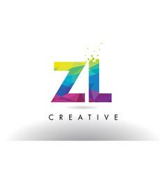 Zl z l colorful letter origami triangles design vector