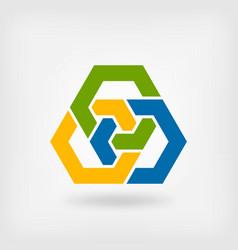 Abstract tri-color interlocking hexagons vector