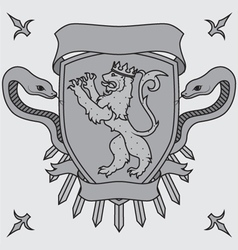 lion on the shield badges vector image vector image