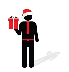 man with christmas hat red silhouette vector image