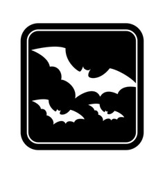 monochrome square silhouette with bats vector image