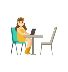 Woman Sitting At Her Desk With Lap Top Coworking vector image vector image