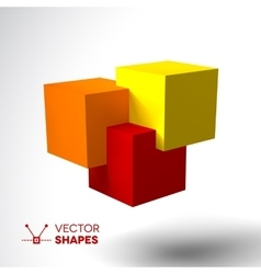 3d logo with bright colored cubes vector