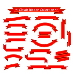 Classic ribbon collection red on white background vector image vector image