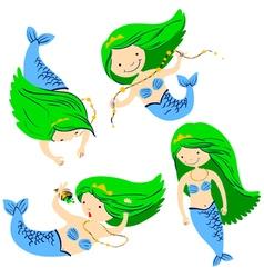 cute mermaids vector image vector image