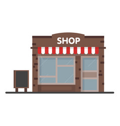 facade shop store icon with signboard template vector image
