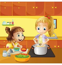 Mother and daughter cooking together vector image