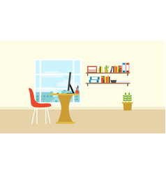 workspace in room with city view out of window vector image