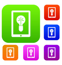 idea lamp on gadget screen set collection vector image