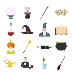 Magic flat icons set vector image