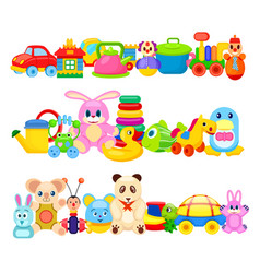 set of funny children toys on white background vector image vector image
