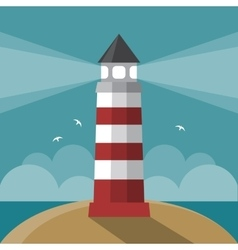Flat cartoon lighthouse vector