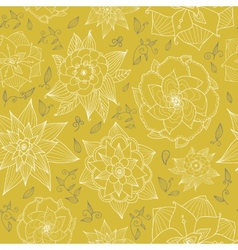 seamless floral wallpaper with hand-drawn flowers vector image
