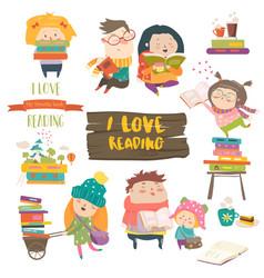 set of cartoon children reading books vector image