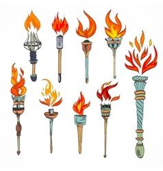 Torch icon sketch vector image