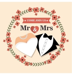 Wedding card with flower and suit and bridal gown vector