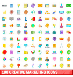 100 creative marketing icons set cartoon style vector image