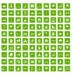 100 kids games icons set grunge green vector image