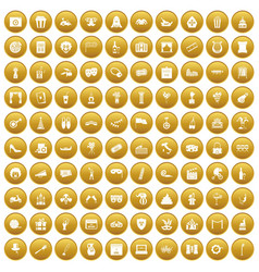 100 mask icons set gold vector