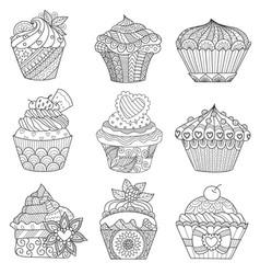 9 cupcakes vector