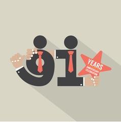 91st Years Anniversary Typography Design vector