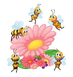 A big flower surrounded with bees vector image
