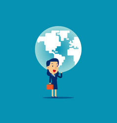 a woman is holding up globe concept business vector image