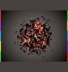 abstract explosion cloud of black pieces with red vector image