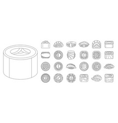 asian sushi roll icon set outline style vector image