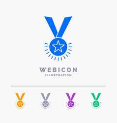 award honor medal rank reputation ribbon 5 color vector image