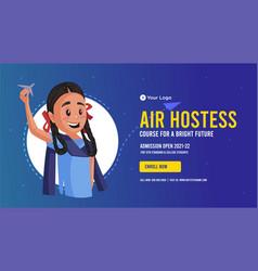 Banner design of air hostess vector