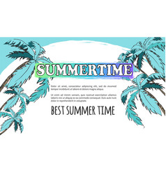 best summer time poster in light turquoise tones vector image