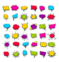 Big set hand drawn effects comic speech bubbles vector