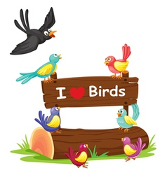 birds and a notice board vector image