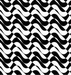 Black and white alternating waves with diagonal vector image