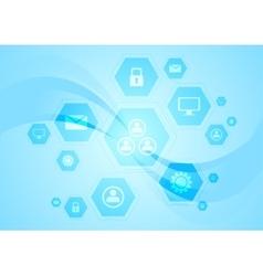 Blue hi-tech wavy background vector image