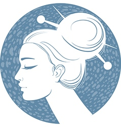 Blue silhouette girl vector