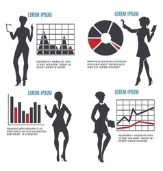 Business Woman with Charts set vector