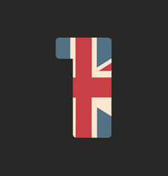 capital number one with uk flag texture isolated vector image