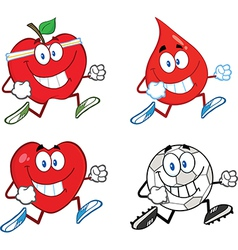 Cartoon characters running vector