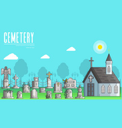 cemetery with different graves and small christian vector image