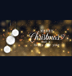 christmas banner with baubles and bokeh lights vector image
