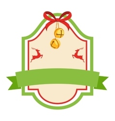 christmas label icon flat vintage frame vector image
