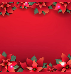 christmas poster with red poinsettia flowers vector image