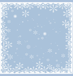 Christmas snow frame isolated on blue background vector