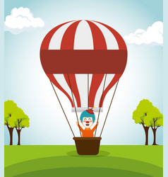 clown circus with balloon air flying vector image